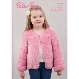 PP1305 Girl's Faux Fur Jacket in Peter Pan Precious Chunky & DK