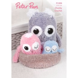 PP1306 Crochet Owls with Nest in Peter Pan Precious Chunky