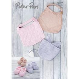 PP1307 Baby's Bibs & Bootees in Peter Pan Baby Cotton DK