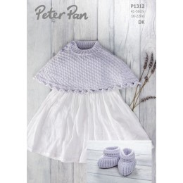 PP1312 Poncho & Bootees in Peter Pan Baby Cotton DK