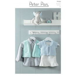 PP1323 Easy Knit Gilet and Waistcoat in Peter Pan Baby Cotton DK