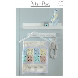 PP1328 Crochet Blanket and Bear Baskets from Peter Pan Baby Cotton DK
