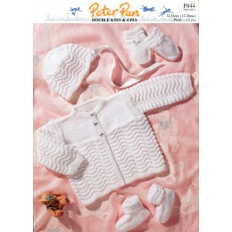 PP844 Baby Cardigan, Hats, Booties and Mittens DK