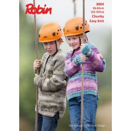 R3004 Children's Round & V Neck Sweaters in Robin Phoenix Chunky