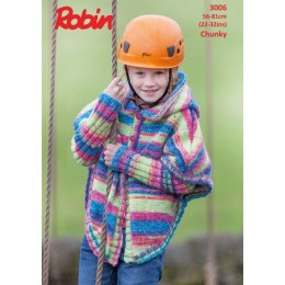R3006 Kids' Hooded Cape in Robin Phoenix Chunky
