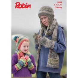 R3008 Helmet, Mittens, Scarf, Pom Pom Hat, Cowl & Wrist-Warmers in Robin Phoenix Chunky