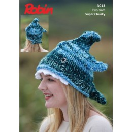 R3013 Shark Hat in Robin Paintbox Splash Super Chunky