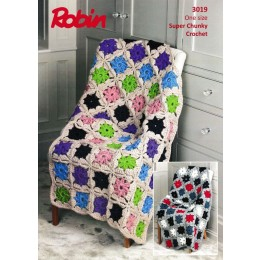 R3019 Crochet Pinwheel Throw in Robin Super Chunky