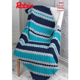 R3021 Crochet Diagonal Stripe Throw in Robin Chunky