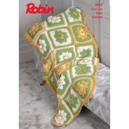R3022 Crochet Flower Garden Throw in Robin Aran With Wool