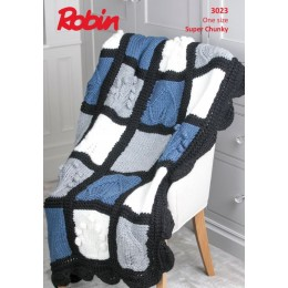 R3023 Botanical Blanket in Robin Super Chunky