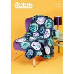 R3033 Crochet Hexagon Blanket in Robin Paintbox Splash & Robin Super Chunky