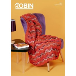 R3034 Chevron Throw in Robin Paintbox Splash & Robin Super Chunky