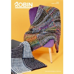 R3035 Textured Pattern & Wavy Stripe Throws in Robin Paintbox Splash & Robin Super Chunky