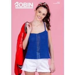 R3045 Ladies Crochet Top in Robin Cotton DK