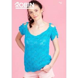 R3046 Ladies Cold Shoulder Top in Robin Cotton DK
