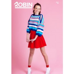 R3047 Woman's Striped Boxy Top in Robin Cotton DK