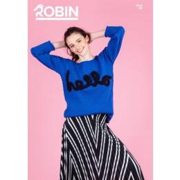 R3048 Ladies Plain & Textured Stripe Sweater in Robin Cotton DK