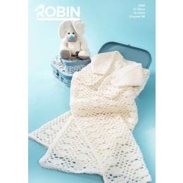 R3050 Crochet Cardigan & Shawl in Robin Bonny Babe Sparkle DK