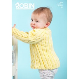 R3053 Crew & V Neck Sweaters for Babies in Robin Bonny Babe Sparkle DK