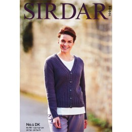 S10006 Ladies V Neck Cardigan in Sirdar No.1 DK