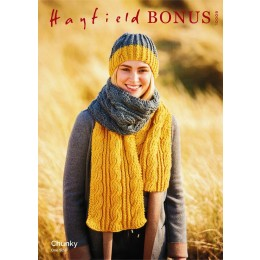 S10009 Cable Scarf and Hat in Sirdar Chunky