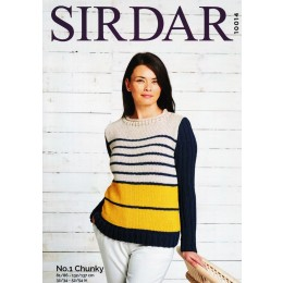 S10014 Ladies Round Neck Stripe Sweater in Sirdar No.1 Chunky
