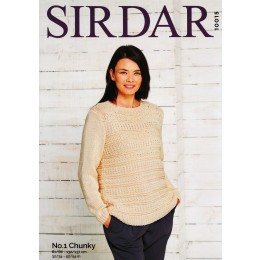S10015 Ladies Round Neck Sweater in Sirdar No.1 Chunky