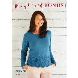 S10023 Ladies Fan & Feather Sweater in Hayfield Bonus Glitter DK