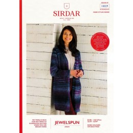 S10029 Ladies Long Line Jacket in Sirdar Jewelspun Aran