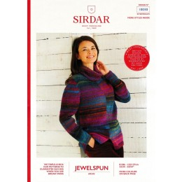 S10030 Ladies Two Tone, Roll Neck Sweater in Sirdar Jewelspun Aran