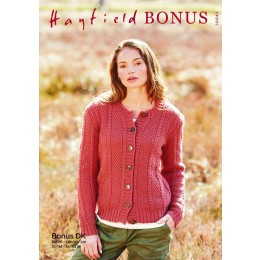 S10043 Ladies Round Neck Cardigan in Hayfield Bonus DK