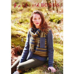 S10044 Ladies Stripe Sweater and Scarf in Hayfield Bonus DK