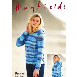 S10045 Ladies Hooded Sweater in Hayfield Bonanza