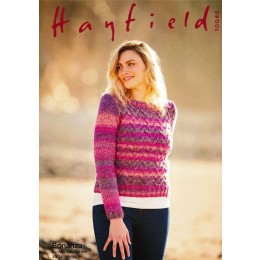 S10046 Ladies Round Neck Sweater in Hayfield Bonanza