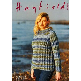 S10049 Ladies Roll Neck Sweater in Hayfield Bonanza