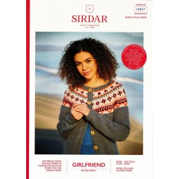 S10057 Ladies Fair Isle Yoke Cardigan in Sirdar Girlfriend