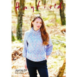 S10065 Ladies Roll Neck Sweater in Hayfield Journey DK