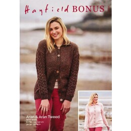 S10073 Ladies Cardigan with Collar in Hayfield Bonus Aran & Aran Tweed 400g