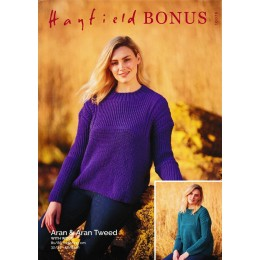 S10076 Ladies Round Neck Sweater in Hayfield Bonus Aran & Aran Tweed 400g