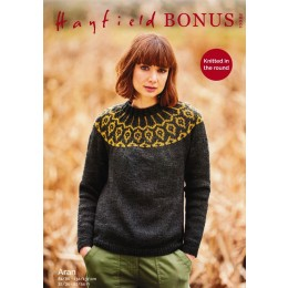 S10082 Ladies Yoked Sweater knitted in Hayfield Bonus Aran