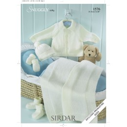 S1576 Blanket, Jacket and Accessories for Little Ones in Sirdar Snuggly 4ply