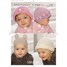 S1742 Four Hat Designs for Little Ones in Sirdar Snuggly 4ply