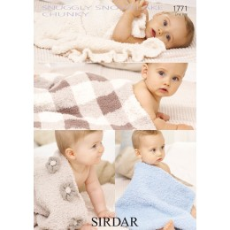 S1771 Four Baby Blanket Designs in Sirdar Snowflake Chunky