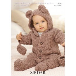 S1774 Bear onesie for Little Ones in Sirdar Snuggly Snowflake Chunky