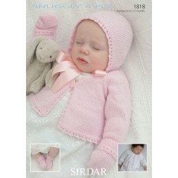 S1818 Cardigan and Hat for Little Ones in Sidar Snuggly 4ply