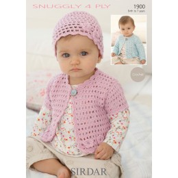 S1900 Crochet Cardigan and Hat for Little Ones in Sirdar Snuggly 4ply
