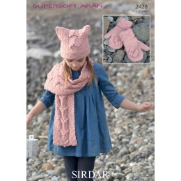 S2428 Scarf, Mittens and Hat for Children in Supersoft Aran