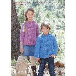 S2444 Jumpers for Children in Hayfield Chunky Tweed