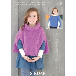 S2445 Poncho for Children in Sirdar Snuggly Snowflake Chunky and Ophelia